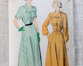 Advance 5087 Vintage pattern 1940s dress pattern house dress placket 1949 turned back sleeves shirtwaist new look Bust 36 post war pockets