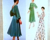Vintage Pattern Vogue 2193 American Designer Jerry Silverman 1970s Ladies back cowl dress Bust 34 full skirt maxi dolman