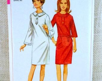 Vintage 1960s Dress Pattern Simplicity 6720 A Line Bell Sleeves henley tie waist Dress Mod Hippie Go Go Bust 36 Balloon Sleeve