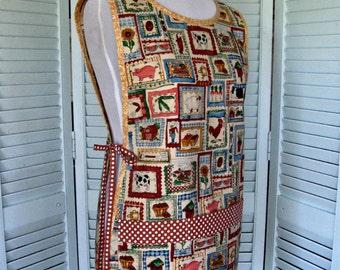 "Cobbler Smock-Vintage Fabric-""Ric Rac Farm""/Alexander Henry-Med/LG"