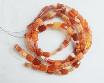 Orange agate  Faceted Rectangle beads  (10X8mm), burnt orange rectangle,  full strand (16 inches)