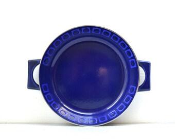 Silit Cobalt Blue Enamel Skillet- OP Art Modernist - West Germany Mid Century - Retro