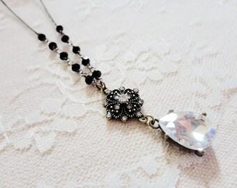 Glitzy black and white beaded rhinestone tear drop necklace, Midnight Snowstorm