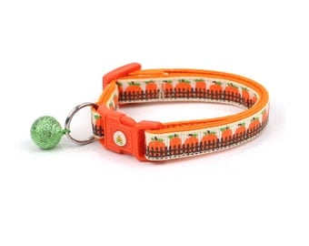 Pumpkin Cat Collar - Pumpkin Patch - Small Cat / Kitten Size or Standard / Large Size Collar