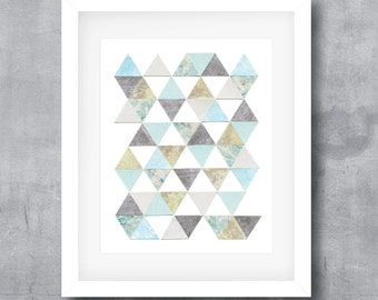 Printable Wall Art, Blue and Gray, Triangle Pattern, Geometric Art, Modern Poster Print, Digital Download, 8x10, 11x14, 16x20