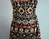 Amazing Vintage 60s 70s Barkcloth Wrap Tiki Hawaiian Dress with Tapa Print Hawaiiana Tribal Resort Wear