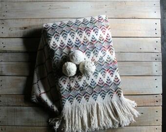 Vintage Multicolor Cream Throw / Blanket