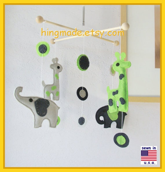 ON SALE !! Baby Mobile, Baby Crib Mobile, Giraffe and Elephant Mobile, Baby Boy Mobile, Lime Green Navy Blue Gray, Match Bedding Mobile