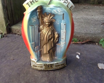 Vintage NY Jim Beam Decanter Bottle 1979 Colorful WTC, Lady Liberty, Empire State Building Iconic 70s Retro New York City Manhattan Kitsch