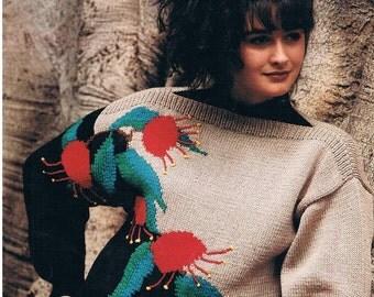 Vintage Knitting Patterns - Cleckheaton Australiana No.3 - Australian Motifs - Lyre Bird, Honey Eater, Flannel Flower & Red Gum