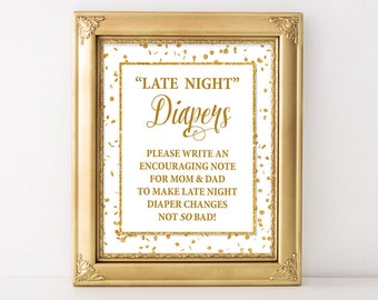 Late Night Diapers Sign, White and Gold Glitter Confetti Shower Sign, 2 Sizes, Baby Girl, DIY Printable, INSTANT DOWNLOAD