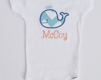Personalized Whale Onesie - Personalized Baby Boy Gift - Chevron Aqua Blue and Orange Baby Whale