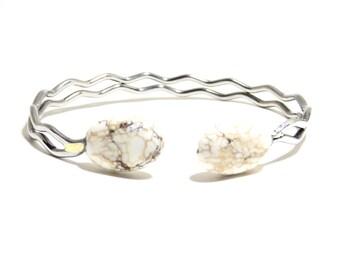 White Turquoise Bracelet, Howlite Stone, Adjustable Bracelet, Stones Bracelet, BLB 23