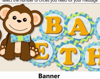 Boy Monkey Baby Shower BANNER, Monkey Birthday Banner - Invitation,  Favor, Invite, Cake Topper, Centerpiece, blue, green, orange