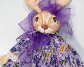 Purple Primitive Bunny Rabbit Cloth Art Doll all Handmade