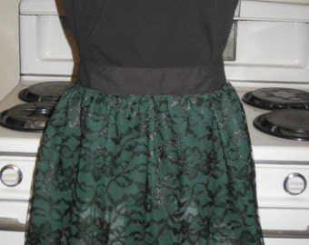 Green and Black Lace Ladies  Tween Half Apron