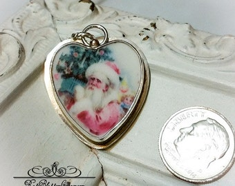 Shabby Pink Santa Sterling Broken China Jewelry Charm Pendant