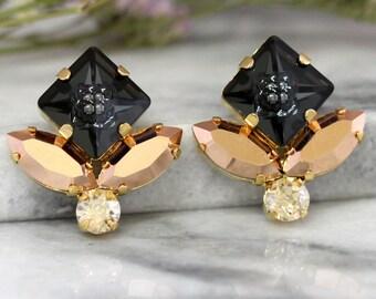 Black Earrings, Black Gold Crystal Studs, Swarovski Noir Black Earrings,Bridesmaids Earrings, Gift For Her, Rose Gold Earrings, Bridal Studs