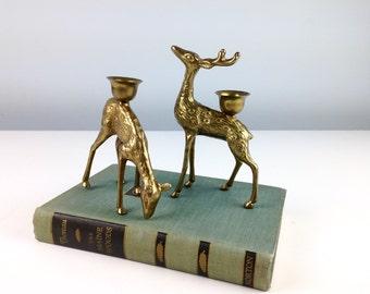Vintage Brass Deer Candle Holders, Brass Figurines, Brass Animals, Brass Reindeer