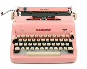 MINT 1957 Pink Royal Quiet De Luxe Typewriter, Professionally Serviced, Pink Typewriter, Royal Typewriter, Working Typewriter