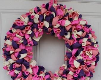 Balloon Wreath, Birthday Wreath, Door Decoration for Baby, Outdoor Door Wreath, front door wreath, baby shower decor, girls birthday decor