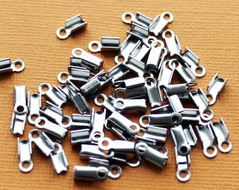BULK 100 Stainless Steel Cord Ends Perfect for Necklace Making with Leather Hemp or Cord Crimp End Tips Caps - FD161