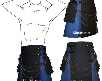 Interchangeable Royal Blue Black Canvas Cargo Utility Kilt Custom Fit Adjustable Many Options
