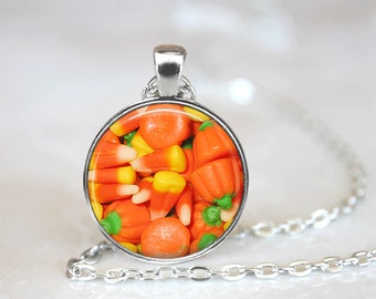 Halloween Necklace Candy Corn Glass Tile Necklace Silver Necklace Glass Tile Jewelry Halloween Jewelry Holiday Jewelry Black Jewelry