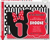Minnie Mouse Invitation | Minnie Mouse Birthday Invitation | Red Minnie Mouse Invite | Minnie Mouse 1st Birthday | Amanda's Parties To Go