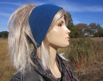 Wide Knit Headband Cashmere Tube Hats Headband Head Ear Warmer Blue 100% Cashmere Hair Band A1122