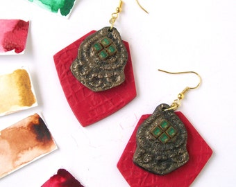 Neon red and green polymer clay earrings geometric earrings art deco inspired large statement earrings