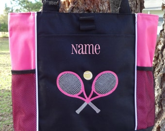 Personalized Tennis Tote Bag- Black and Hot Pink  Tennis Bag, Coach Gift