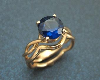 Wedding Rings Set, wedding band set, Bold 2 Carat Blue Sapphire Infinity Engagement Ring - Blue Gemstone, Set Rose gold Braided Rope