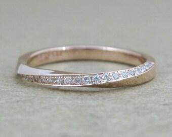 Rose gold Diamond Wedding Ring, Rose gold Wedding Band, Diamond mobius ring, mobius infinity ring, Rose gold band, Diamond Eternity band