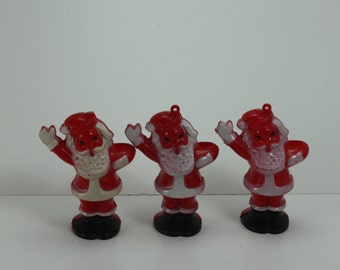 Vintage Celluloid Santa Claus St. Nick Kris Kringle Christmas Ornament Candy Holder Hard Plastic Set of 3