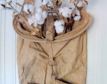 Vintage Canvas Apple Bag, Apple Picking Basket, Canvas and Metal Apple Picking Bucket, Apple Picking Bag, Orchard Bag