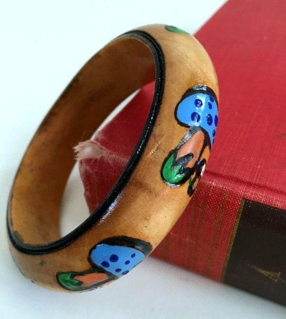 ViNtAgE 60's Painted Wood Bangle 70's Bracelet Free People Mushroom Hippie Coachella Festival Tooled Carved Jewelry Gypsy Boho Artisan OOAK