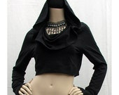 Akasha Cropped Hoodie Urban Gypsy Apparel - Hoop, Tribal Belly Dance, Yoga, Dance, Elven, Boho, Goth,Pixie, Festival, Tribal Fusion, Hooping