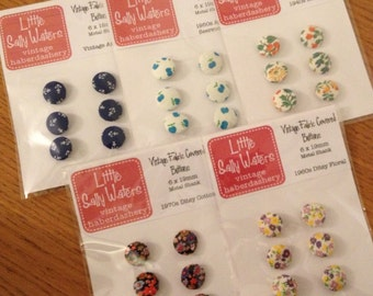 BUTTONS Vintage Fabric Covered 6 Pack Various Designs Supplies
