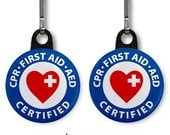 CPR First Aid AED Certified Heroes 2-Pack of Zipper Pull Charms (Choose Size and Backing Color)
