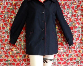 Mod vintage 60's black and red jacket rain coat short trench by La Pointe's - size L / XL