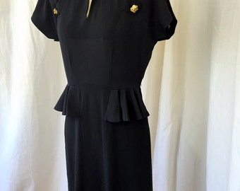 Black 1940's Dress / No tag / Size S / Rayon Crepe and Faille / 40's day dress cocktail dress / WWII Retro Authentic Vintage