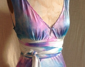 opalescent pink turquoise lavender silk wedding dress boho chic bridal bridesmaid drsses mother of the bride dress tie dye beach dress