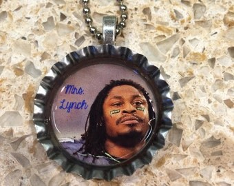 Mrs. Lynch Marshawn Lynch Seattle Seahawk Bottle Cap Necklace- Proceeds Benefit Cancer Research