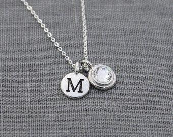 Personalized Necklace Birthstone, Mothers Birthstone Jewelry, Initial Jewelry Necklace, Personalized Necklace for Mom