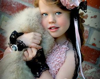 Baby headband, pink flower headband, flower girl, girl headband, Feather Fascinator, Tea Party, Photo Shoot, Birthday Hair Accessory