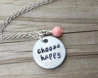 "Choose Happy Inspiration Necklace- ""choose happy"" with and accent bead in your choice of colors-  hand stamped jewelry"
