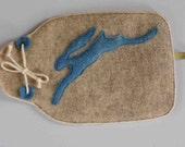 100% Pure Shetland wool felt hot water bottle covers - Hare motif