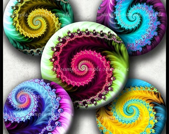 INSTANT DOWNLOAD New Colorful Fractals (780) 4x6 1 inch round Bottle Cap Images Printable Digital Collage Sheet glass tile cabochon images