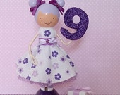 Ninth Birthday Clothespin Doll Table Centerpiece Cake Topper
